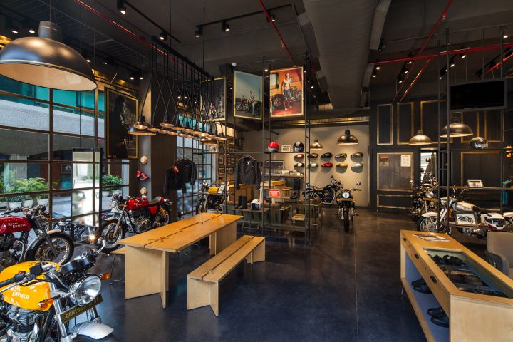 A holistic store which showcases bikes, accessories and interaction spaces manifests as a store as well as an experience centre for the brand. The store is zoned according to the motorcycles on display. Each zone brings out the characteristic the bike stands for.