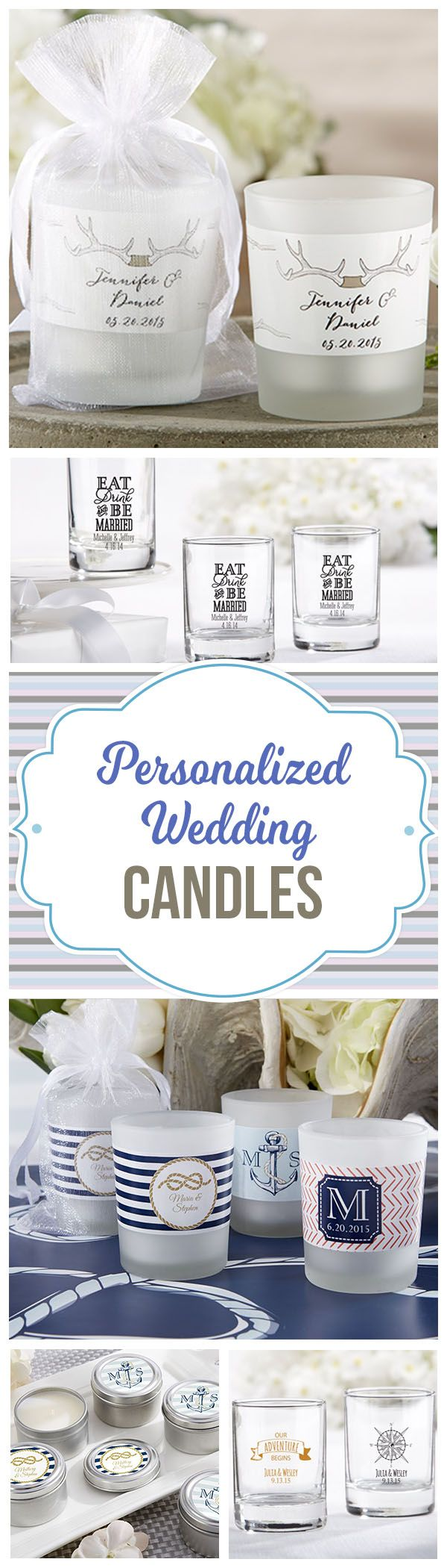A creative way to add your own elements to gift tables or even as Wedding Favors:  Personalized Wedding Candles and Candle Holders.  We carry over 100+ designs