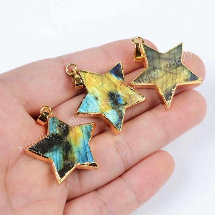 Купить товарНовый стиль позолоченные природный лабрадор звезда кулон…