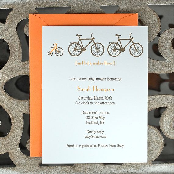 Bicycle Baby Shower Invitation / Shower Invitations  - Baby In Tow Bicycle Themed Invites via Etsy