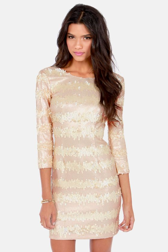 Swiss Buttercream Champagne Sequin Dress at LuLus.com! $105.00 #lulus #holidaywear