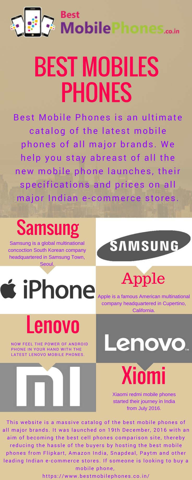 Best Mobile Phones is an ultimate catalog of the latest mobile phones of all major brands.