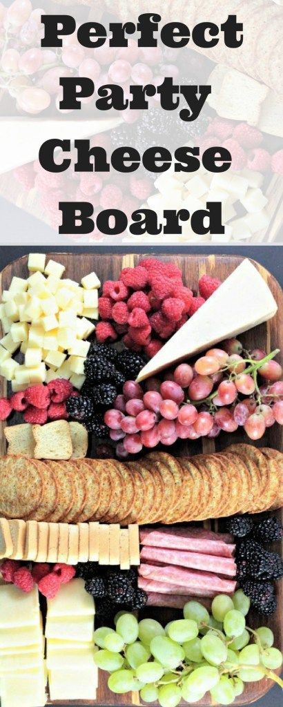 This Perfect Party Cheese Board features Stella Cheeses, Genoa Salami, crackers, mini toast, red and green grapes, raspberries and blackberries. @StellaCheese #StellaCheeses #QualitySince1923 #Ad