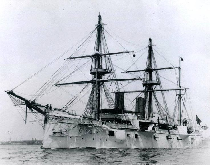 """USS CHICAGO"" (1885) Was a (342.2') Protected Cruiser - Commissioned 17 April 1889 – Armament: 4 x 8 Inch (203mm) Single Main Battery, 8 x 6 Inch (152mm) Secondary Battery 2 x 5 Inch (127mm) Guns, 2 x  2.2 Inch (57mm) Guns, 4 x 1.85 Inch (47mm) Guns, 2 x 1.5 Inch (37mm) Guns and 2 x .45 cal Gatling Guns - Decommissioned 30 September 1923 - Sold for Scrap, 15 May 1936 - She Foundered Under Tow and Sank Mid-Pacific in July 1936"