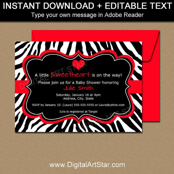 Use these cute red & black zebra invitations to invite family & friends to your baby shower. The invitations would also be perfect for other Valentines Day parties, birthday parties, bridal showers, anniversaries, engagement parties and more!  Dont wait! Personalize this invitation yourself and say anything you want! Just type over my text in Adobe Reader & easily change the words to suit ANY occasion. Perfect for when you need something last minute. Just edit, print, and cut.  Se...