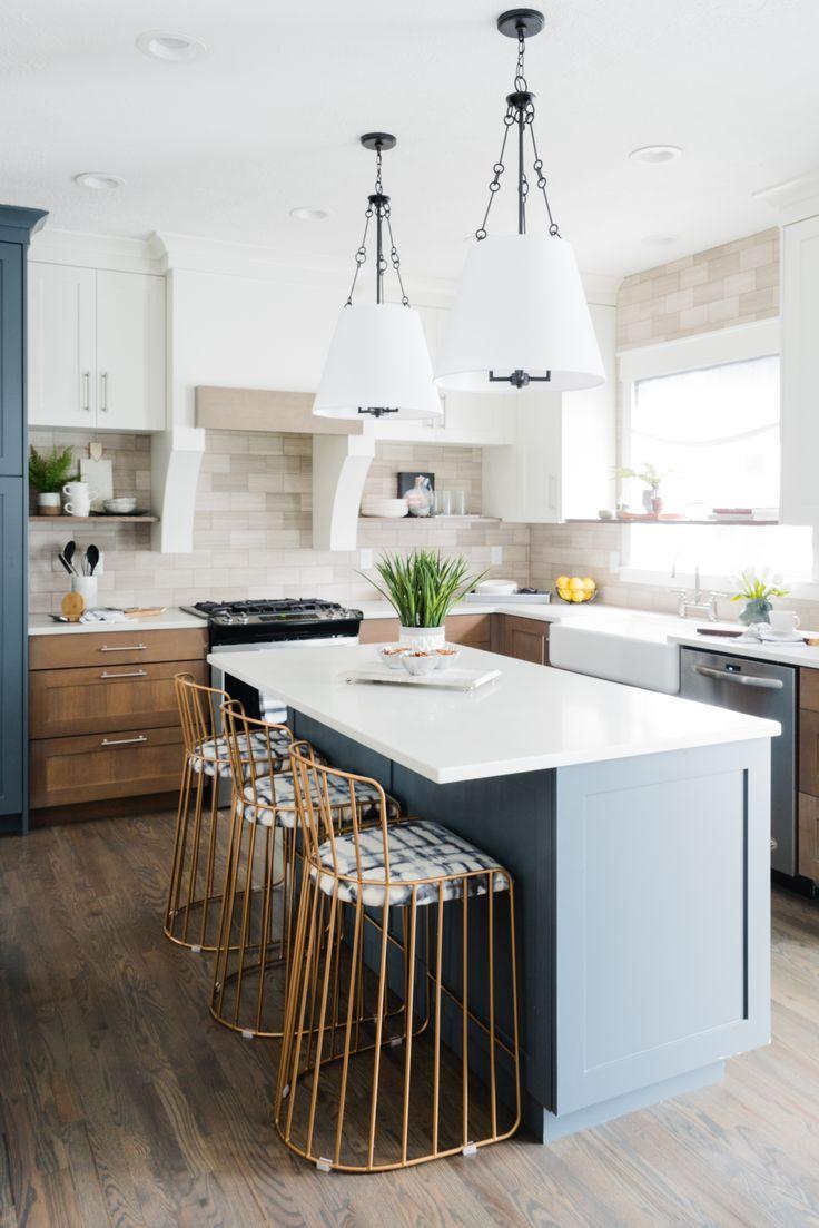 Teal White And Dark Wood Kitchen Brass Modern Counter Stools Black Island Lights Teal Kitchen Dark Wood Kitchens Wood Kitchen Farmhouse Kitchen Design