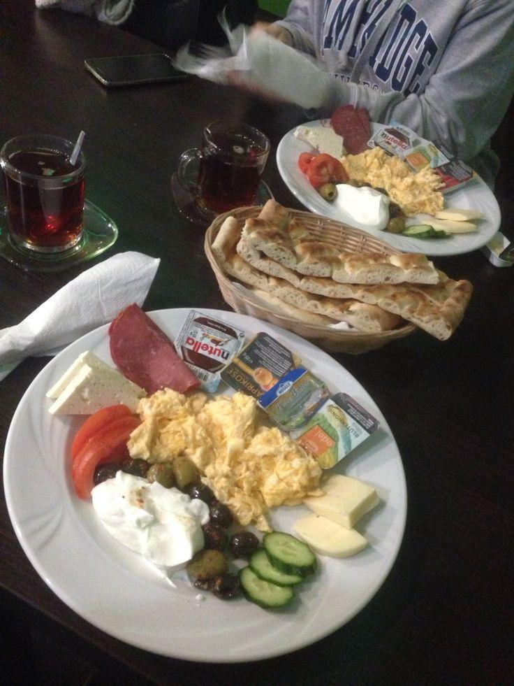 Turkish breakfast  #pastırma #yoğurt #yumurta #peynir #cay #sıcak #ekmek #zeytin