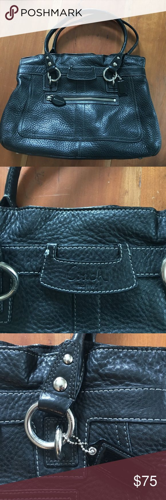 """Black Coach Leather Bag Excellent, condition. Fun """"ruffle"""" effect on top of bag. Exterior shows little to no wear, interior black and white stripe silk shows some light staining/wear. Coach Bags Shoulder Bags"""