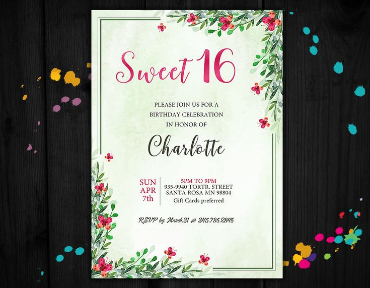 Sweet 16 invitation, 16 birthday invitations, 16th anniversary invite, sweet sixteen invitations by PrintablesForEvents on Etsy
