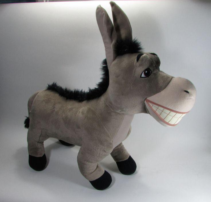 "Large Jumbo Plush Donkey Shrek 2 Hasbro 21"" Tall 2004 Soft Stuffed Animal Toy #Hasbro"