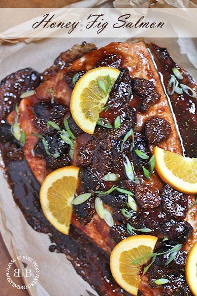 Honey Fig Roasted Salmon with orange, soy and ginger.