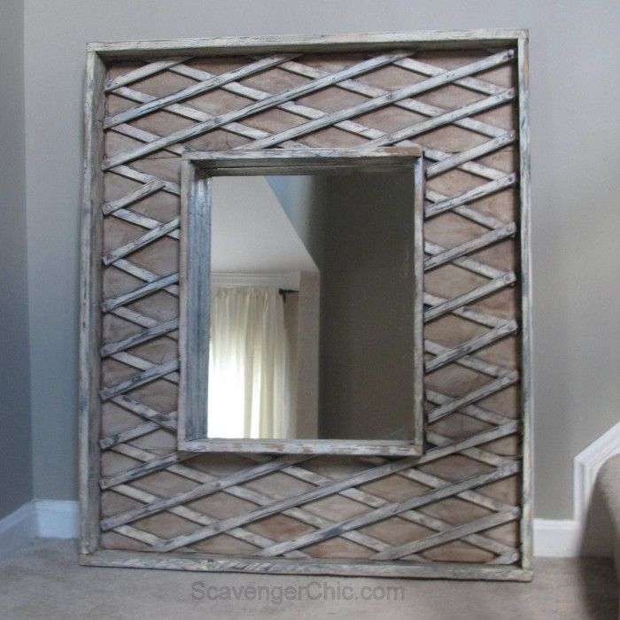 Pallet wood, a mirror and a repurposed baby gate are all used to create a one of a kind piece of art. Complete tutorial so you can make one of your very own.