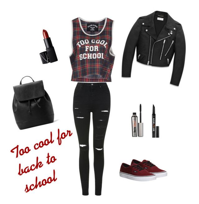 """""""Too cool for back to school"""" by adrianaadd on Polyvore featuring moda, Yves Saint Laurent, Filles à papa, Topshop, Vans, MANGO, NARS Cosmetics e Benefit"""