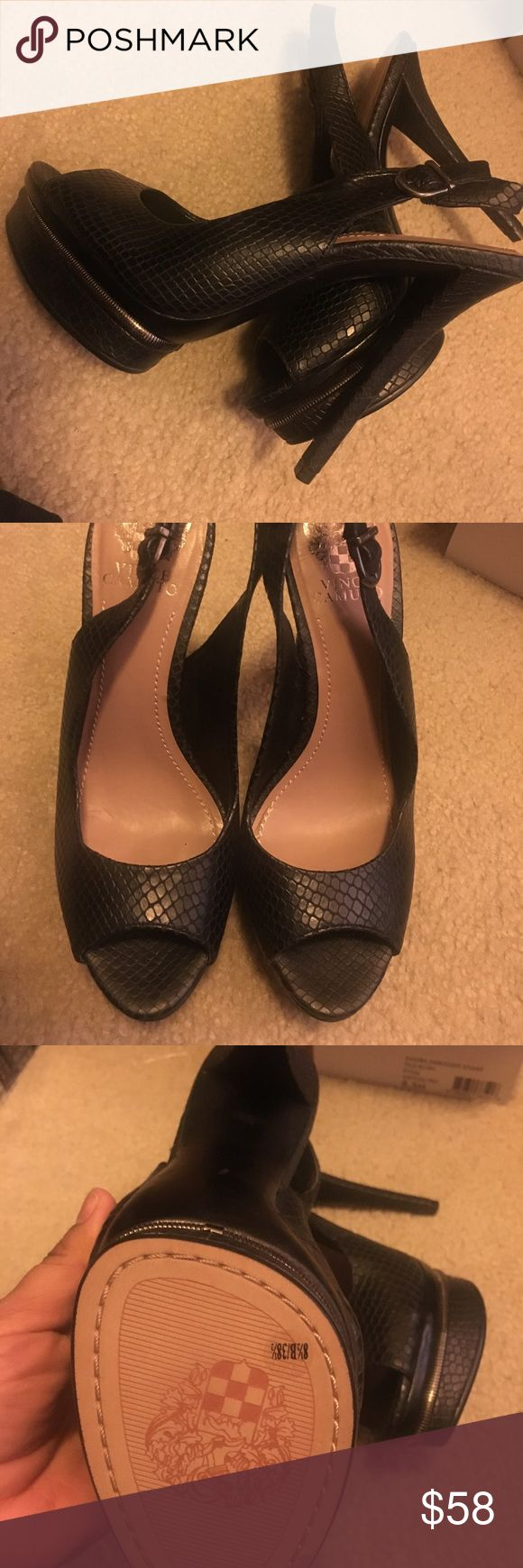"""Vince Camuto Heels Vince Camuto 'Rivka' Slingback Pump Size 8.5 Brand new comes with Box Edgy zipper teeth trim the recessed platform of a snake-embossed leather slingback pump with a flirty open toe. Adjustable strap with buckle closure. Approx. heel height: 5"""" with 1"""" platform (comparable to a 4"""" heel). Leather upper/synthetic lining and sole. Vince Camuto Shoes"""