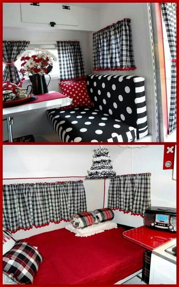 Black and white, red...@kaygarletts...do you see this???  For the kids camper playhouse at the farm...