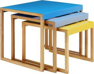 Kilo tables d'appoint gigognes en métal et chêne massif