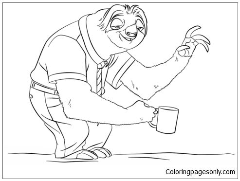 Zootopia Sloth Flash Coloring Page - Free Coloring Pages Online