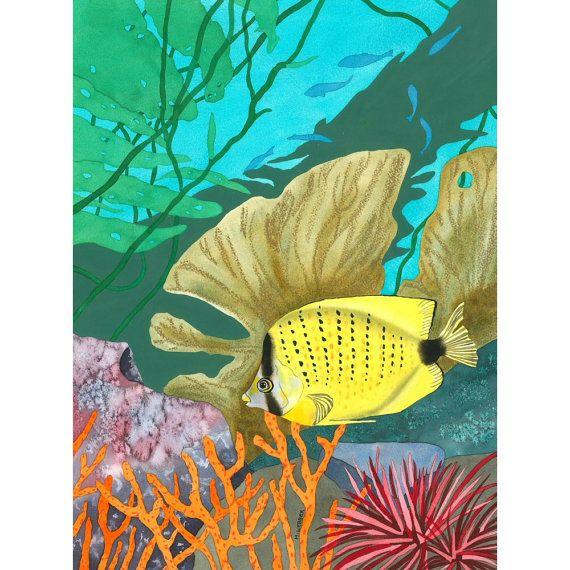 Edizione limitata firmata stampa, marino pesce giallo tropicale turchese mare pittura ad acquerello