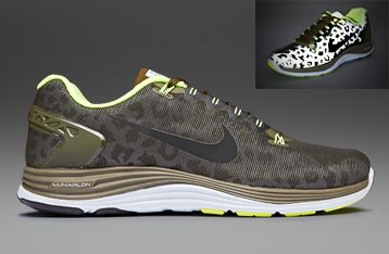 Men's Nike Lunarglide+ 5 Shield Leopard Dark Loden Black Volt Sneakers : M45e869