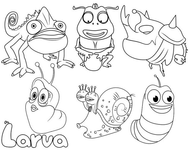 larva animation coloring page for kids