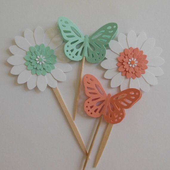 Butterfly and Flower Cupcake Toppers - MInt Green and Coral. Baby Shower, girl, spring, backyard,