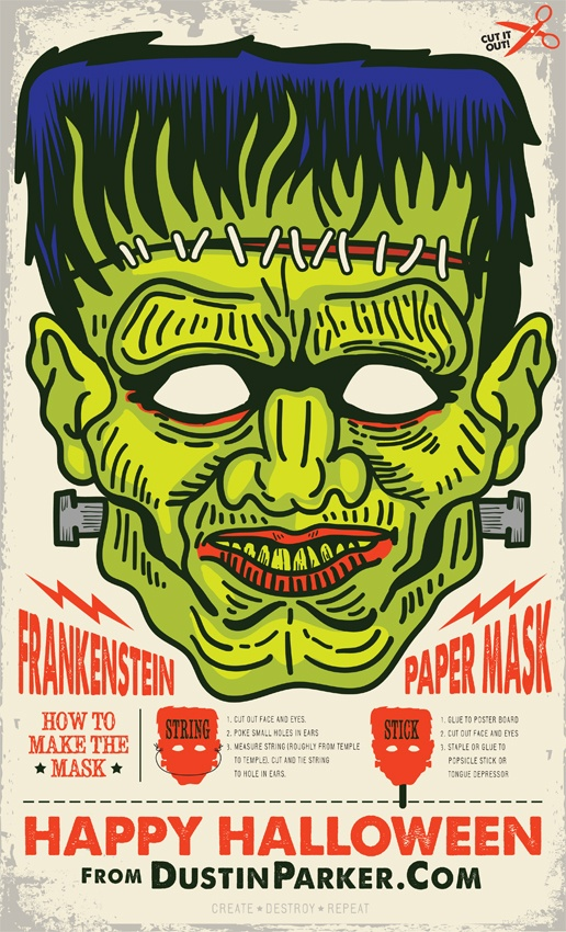 Vintage Frankenstein Mask  The layout is nice. Potential poster that also can be cut into a mask to be worn? This is nuts.