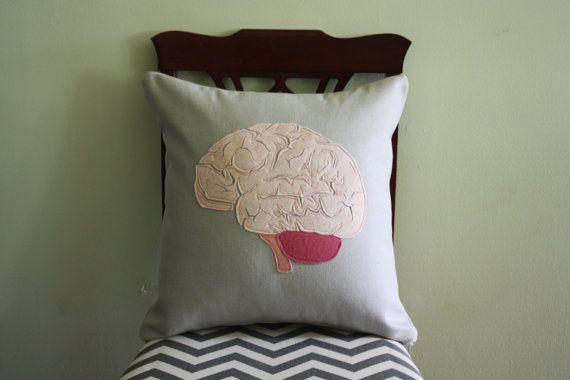 Science Diagram Pillow  Brain // Anatomy // от dirtsastudio