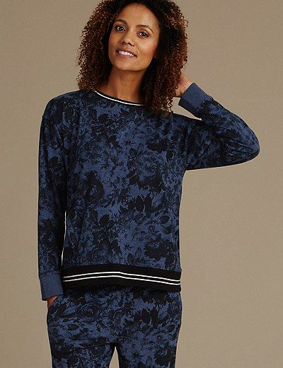 Tipped Long Sleeve Pyjama Top | Marks & Spencer London