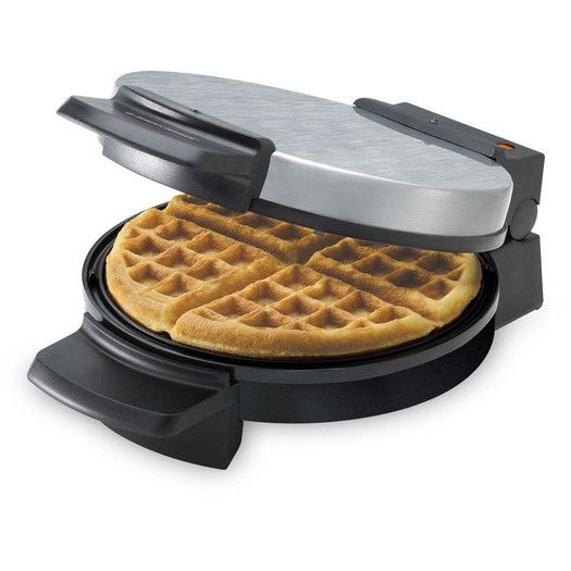 """Features:  -Ready indicator light.  -Non-stick.  Product Type: -Belgian waffle maker.  Indicator Light: -Yes.  Non-Stick: -Yes. Dimensions:  Overall Height - Top to Bottom: -4.5"""".  Overall Width - Sid"""