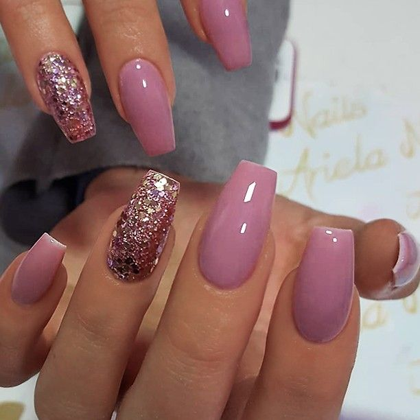✨ REPOST , , \u2022 , , Berry,Mauve and Glitter on Coffin Nails