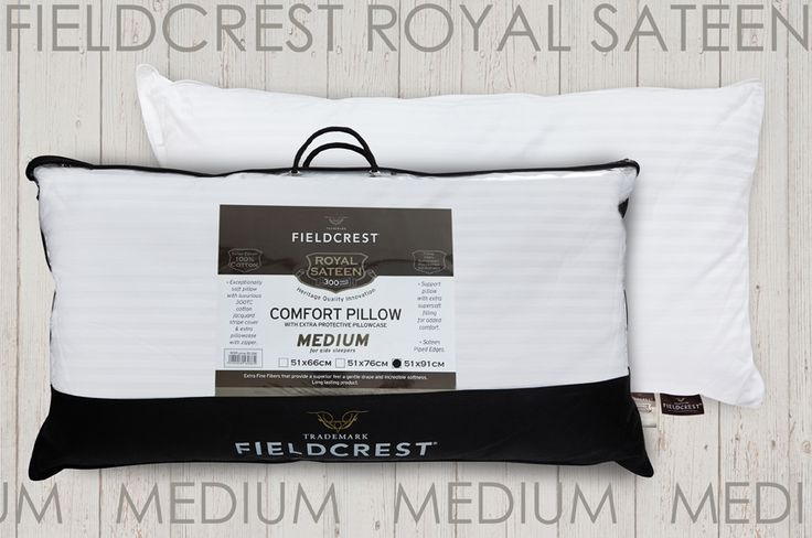 Pillow FIELDCREST Royal Sateen siliconized micromax filling 100% Cotton 300TC with extra separate Pillowcase. Medium for back sleepers