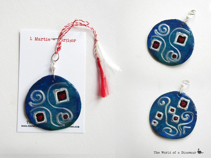 Hand painted ceramic token for 1st of March. #Mărțișor #Token #Tradition #handmade #handpainted Read here the tradition of the 1st of March: http://theladysdowry.wordpress.com/2014/02/27/1st-of-march-martisor-and-baba-dochia/