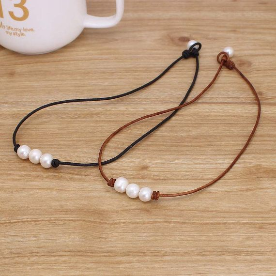 Three pearl necklace, Leather Pearl Choker, Pearl Leather Necklace, White…