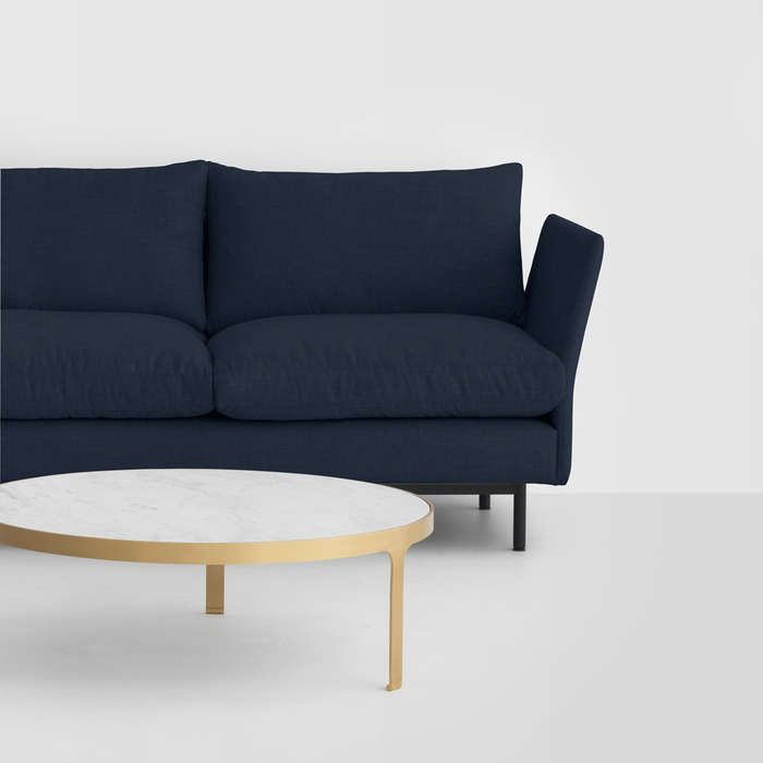Layabout Sofa - This sofa system is designed for the home, it's elevated frame gives a light appearance, while it's soft feather cushions are designed for all day use. It is constructed from sustainably grown pinus radiata, steel re-enforcing and multi-density foam.