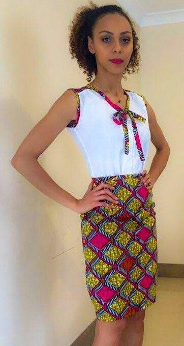 Ensemble chaud rose africain impression crayon par for Couture de kita pagne