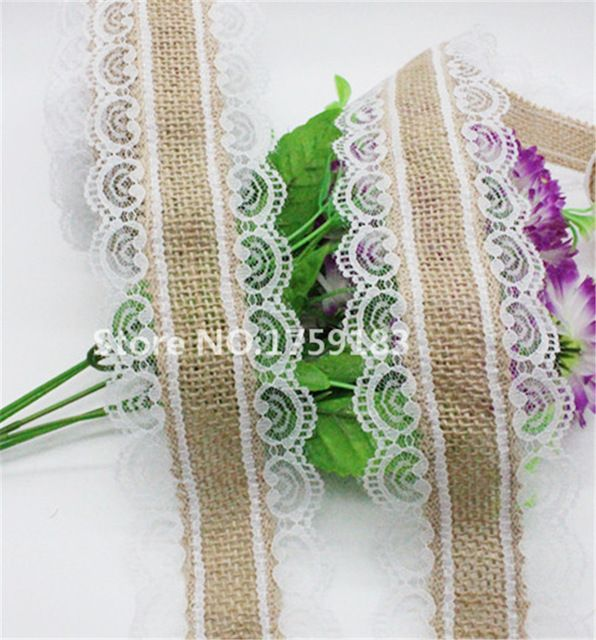 Hot 2 metri larghezza 62mm naturale di iuta tela di iuta nastro bianco lace trim bordo decorazione di nozze d'epoca rustico classico #5002