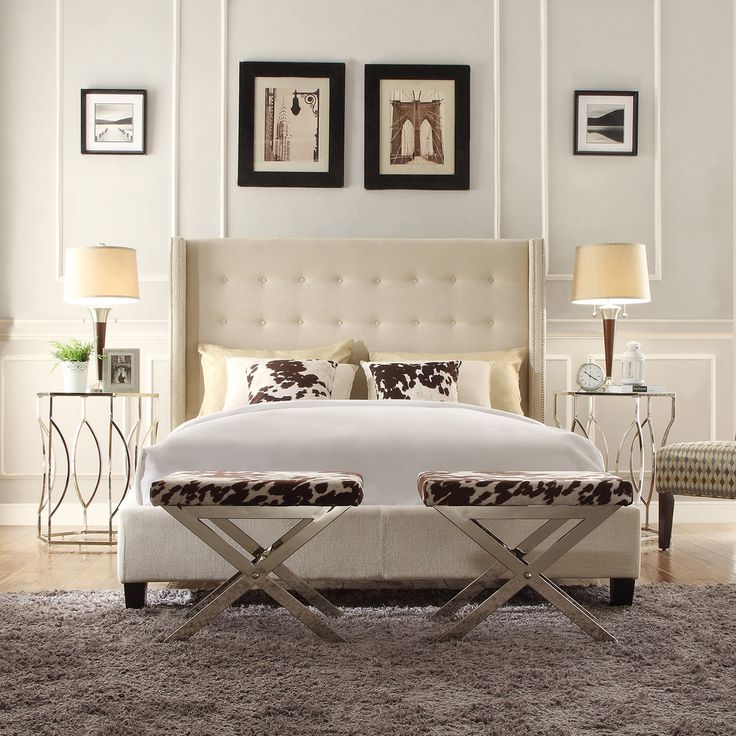 bedroom linen set inspire q marion beige linen nailhead wingback tufted 10549