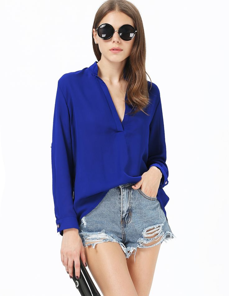 Shop Blue V Neck Long Sleeve Loose Blouse online. Sheinside.com. $15. Free Shipping Worldwide!