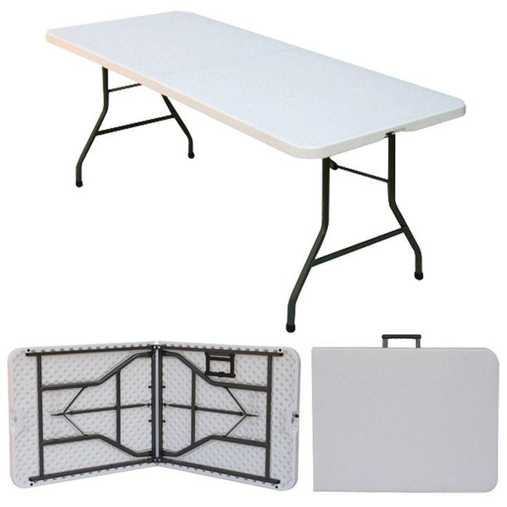 """Correll CP3072FM 30"""" x 72"""" Granite Gray Plastic Fold in Half Table"""