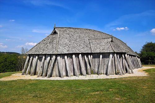 Fyrkat viking house. Reconstructed viking long house at Fyrkat (outside Hobro), North Jutland, Denmark.