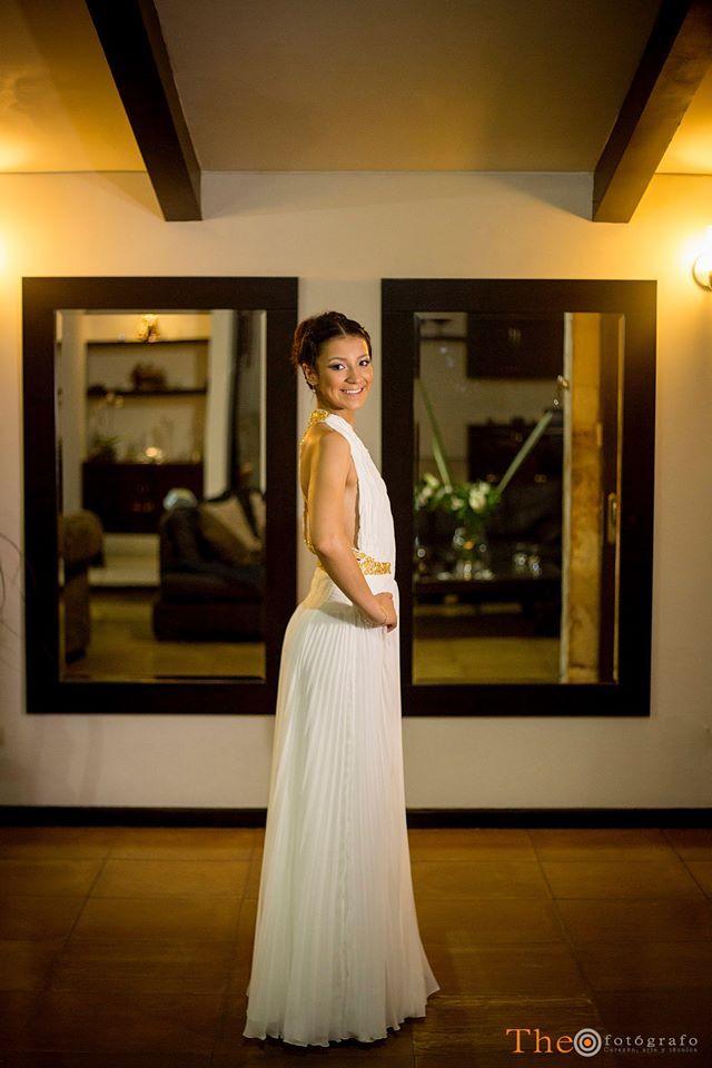 vestido de chifon blanco