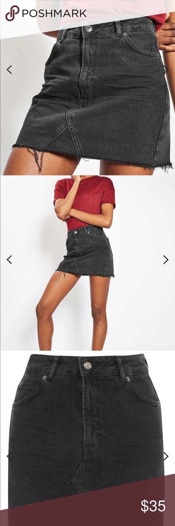 Topshop Moto Mini Denim Skirt Invest in a spring/summer staple with this denim mini skirt in washed black. We love the raw hem finish for an edgy touch. 100% Cotton. Machine wash. Colour: Washed Black Topshop Skirts Mini