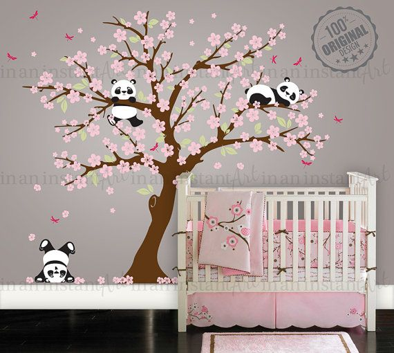 Cherry Blossom Wall Decal Playful Pandas in Cherry Blossom Tree | Custom Nursery…