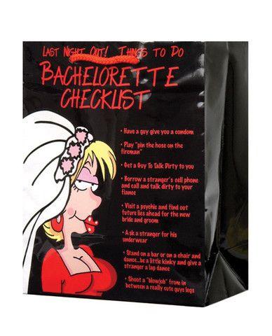 Last Night Out Bachelorette Checklist Gift Bag