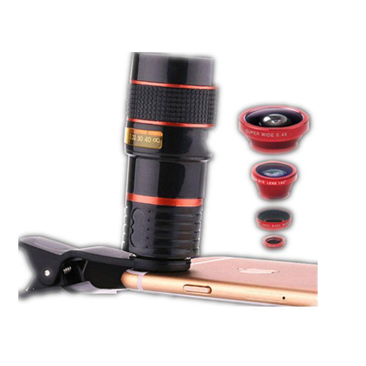 4 in 1 Mobile Phone Lens 12X Telephoto +0.65X Wide Angle +8X Macro +180Degrees Fisheye Universal Fish Eye lenses for Smartphone //Price: $US $16.79 & FREE Shipping //     #ipad