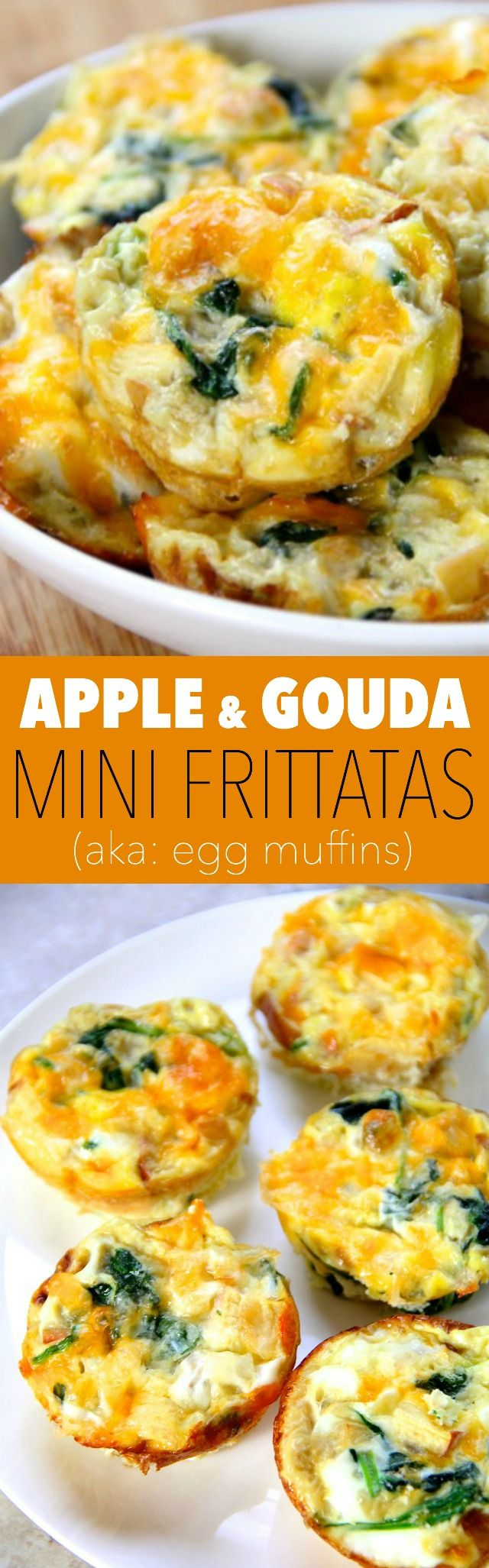 Apple and Gouda Mini Frittatas -- these delicious little egg muffins make a perfect grab-and-go breakfast or a fun brunch! Make ahead and simply pop them in the microwave when you're ready to eat || runningwithspoons.com #breakfast #brunch #eggs
