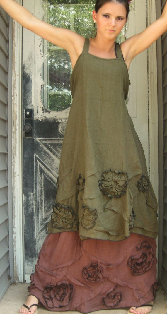 Olive Linen Scrunches and Flowers Dress M by sarahclemensclothing, $149.00