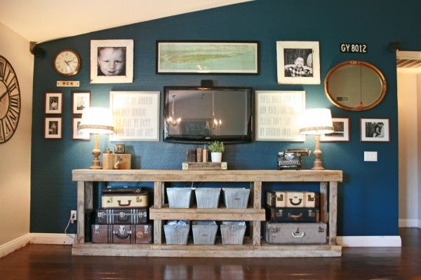 DIY media console furniture. I love everything about this picture.