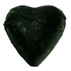 A bag of 100 Black Star Embossed Foil Chocolate Hearts.