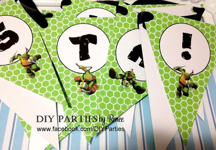 Table bunting - Teenage Mutant Ninja Turtles.  Find us on Facebook: www.facebook.com/DIYParties
